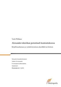 Alexander-tekniikan potentiaali kuntoutuksessa   kirjallisuuskatsaus ja  vertailu kroonisen alaselkäkivun hoitoon  ee5075798c