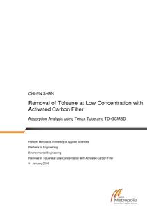 Removal of Toluene at Low Concentration with Activated Carbon Filter    Adsorption Analysis using Tenax Tube and TD-GCMSD  84ed976941
