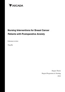 Nursing Interventions for Breast Cancer Patients with