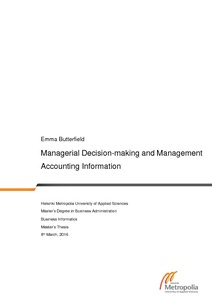 Managerial Decision-making and Management Accounting Information