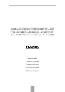 BIM Based Energy/Sustainability Analysis for Educational