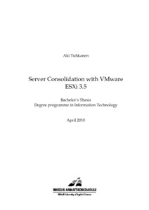 Server Consolidation with VMware ESXi 3 5