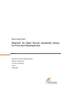 ReactJS: An Open Source JavaScript Library for Front-end Development