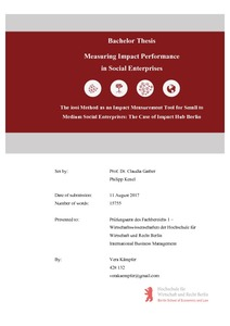 Measuring Impact Performance in Social Enterprises : The