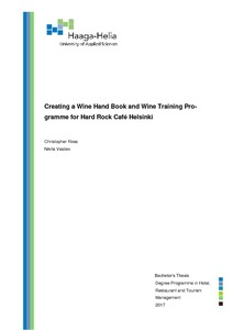 Creating a Wine Hand Book and Wine Training Pro- gramme for