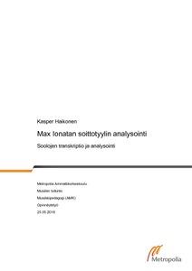 Max Ionatan soittotyylin analysointi   Soolojen transkriptio ja analysointi   836be6ea1d