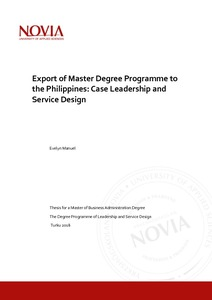 Export of Master Degree Programme to the Philippines: Case