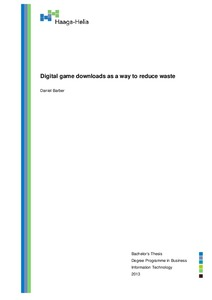 Digital game downloads as a way to reduce waste