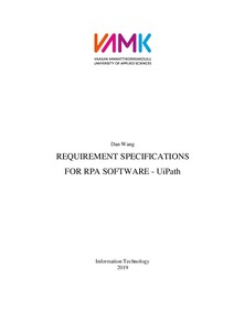 REQUIREMENT SPECIFICATIONS FOR RPA SOFTWARE - UiPath