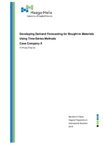 Demand Forecasting For Bought-in Materials Using Time-Series Methods
