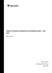 ROBOTIC PROCESS AUTOMATION FOR BUSINESS CASES – A RE- VIEW