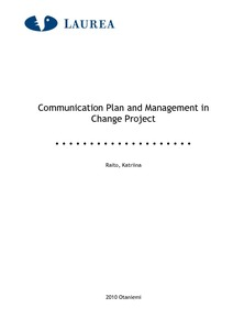 Communication Plan and Management in Change Project
