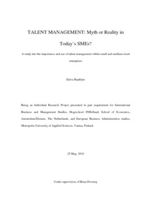 Talent management: Myth or Reality in Today's SMEs : A study into