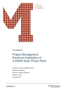 Project Management - Electrical Installation of a 50MW Solar