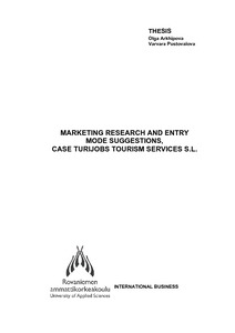 Marketing Research and Entry Mode Suggestions, Case Turijobs