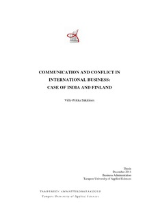 Communication and Conflict in International Business - Case