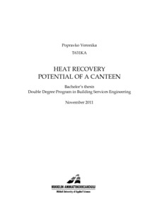 HEAT RECOVERY POTENTIAL OF A CANTEEN