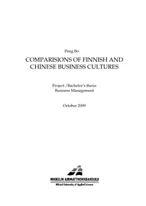 COMPARISIONS OF FINNISH AND CHINESE BUSINESS CULTURES