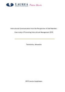Intercultural Communication from the Perspective of a Project Staff