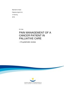 pain management of a cancer patient in palliative care