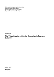 The Value Creation of Social Enterprise in Tourism Industry