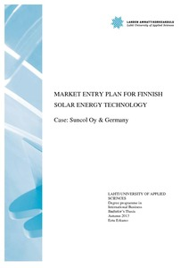 Market Entry Plan For Finnish Solar Energy Technology Case Suncol