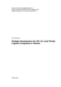 Strategic Development into 3PL for Local Private Logistics