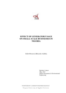Effect of generator usage on small scale businesses in Nigeria
