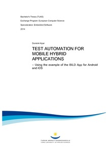 Test automation for mobile hybrid applications : using the