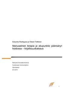 Manuaalinen terapia ja akupunktio päänsäryn hoidossa - kirjallisuuskatsaus  6ba3c0b243